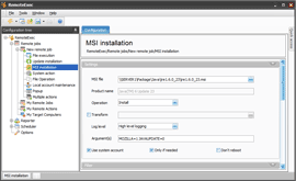 RemoteExec MSI installation settings example