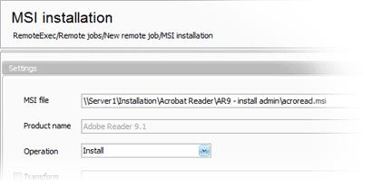 Remote MSI installation settings