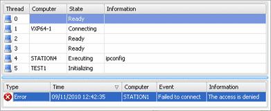 Remote execution progress window