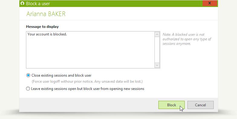 Immediate one-click block