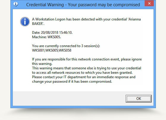 Credential Warning