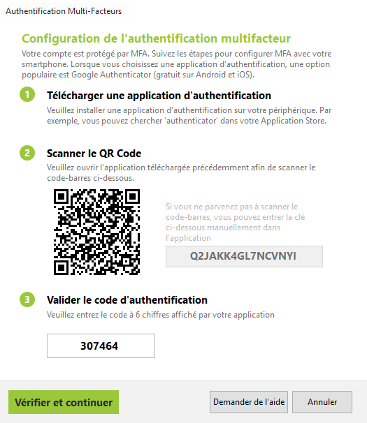 Auto-inscription avec une application d'authentification
