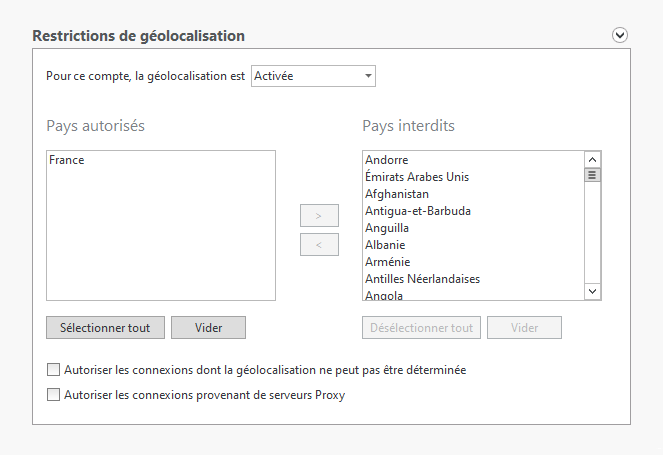 Restriction de géolocalisation