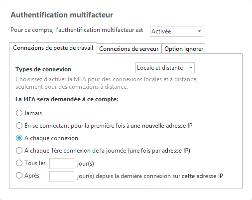 Authentification à deux facteurs- Settings