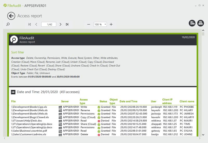 FileAudit access report