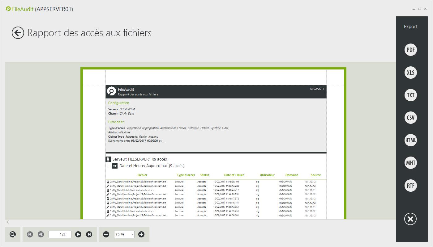 Rapport des accès aux fichiers