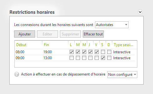 Restrictions horaires