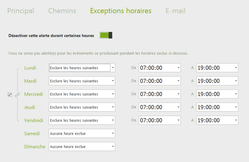 Exceptions horaires
