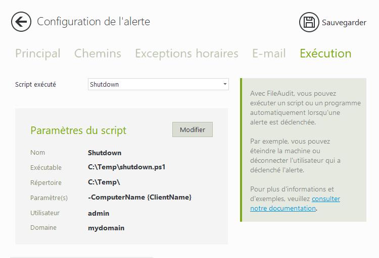 Exécution script