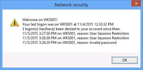 Previous logon notification to user for NIST 800-53 AC-9