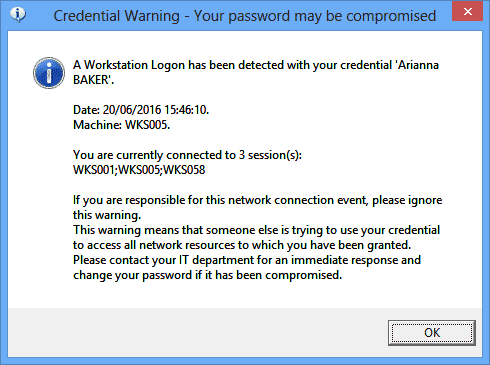 User warning for logon access notification